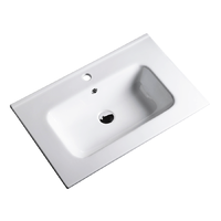 610x465x170mm Bathroom Vanity Cabinet Ceramic Wash Basin Sink Top White 60Q