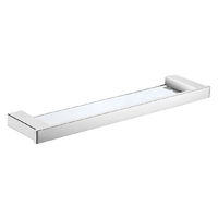 SQUARE GLASS SHELF BATHROOM ACCESSORIES STAINLESS STEEL CHROME FINISH 6406