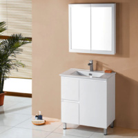 IVANA ENSUITE 750X400mm LHD PVC WATER PROOF BATHROOM VANITY CERAMIC BASIN WHITE FINGER PULL