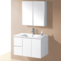 IVANA WALL HUNG 900mm LHD PVC WATER PROOF BATHROOM VANITY CERAMIC BASIN WHITE