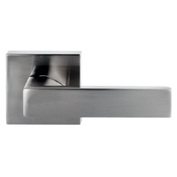 Nidus Project Lonsdale Square PASSAGE Door Handle Lever Set Brushed Nickel