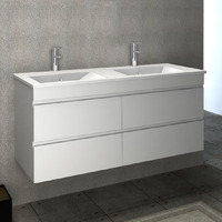 VELLENA 1200mm Double PVC MATTE WHITE Wall Hung Bathroom Vanity Cabinet