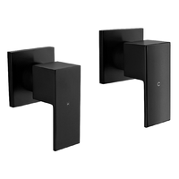 Square Bathroom Shower Quarter Turn Wall Top Assemblies Matte Black WTS017-4BK